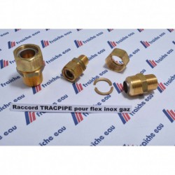 "raccord 4/4""M x DN28 pour l'assemblage avec tube inoxydable semi-souple  TRACPIPE, pour tous gaz en basse pression"