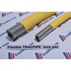 tube TRACPIPE inox semi flexible pour gaz butane et naturel basse pression avec enrobage jaune