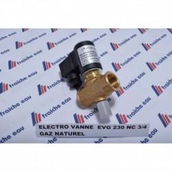 électro vanne pour gaz naturel pression max 0,5 bars, la vanne à réarmement manuel est  fermée hors tension